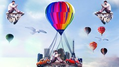 Adobe photoshop The  Flying Land compositing