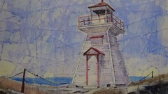 Lighthouse in Watercolour and Batik