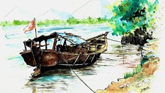 Draw a Boat in Water using Pens, Inks and Watercolors