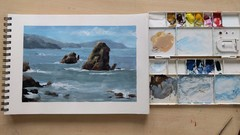 Seascape Painting In Opaque Watercolors