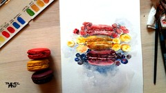 How to paint French macarons in Watercolor step by step