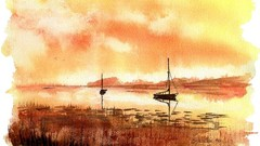 How to paint three sunsets Watercolor painting for beginners