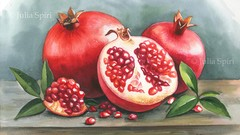 How to Paint Pomegranates in Watercolor