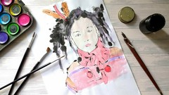 Blotted Line Monoprinting with Acrylic Inks and Watercolours