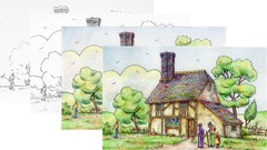 Draw a Cottage with Watercolor Pencils & Pen and Ink