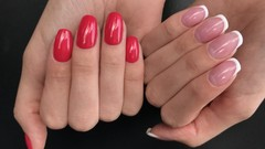 Nail application in one tone and French