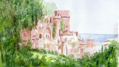 "how to paint in watercolor my""Mountain view""at Gwrych Castle"