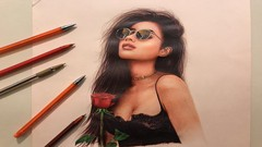 Beautiful Woman Portrait Drawing with Colored Ballpoint Pens