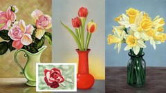 Draw Flowers with Pastel Pencils | Roses, Tulips & Daffodils