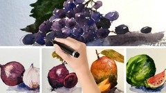 Watercolor-Learn to paint Fruits & Vegetable in 3 easy steps