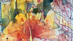 Watercolor. Spain Landscape with Hibiskus (english)