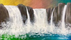 How to Paint a Rainbow Waterfall with Acrylics