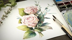 How to Paint Flowers with Watercolor | Pink Roses