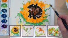 Learn Watercolor Painting: Sunflower, Daylily, Rose, Orchids