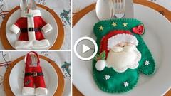 Aprende a elaborar unos porta cubiertos navideños.