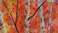 Autumn Watercolor Painting - Fall Birch Trees Easy Beginner