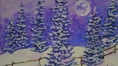 Beginner Watercolor Painting Course - Easy Winter Snow Scene
