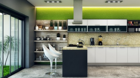 Render con V-ray 3.5 + 3DS Max 2017 + Photoshop (interiores)