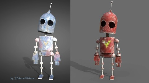 Model and texture old Robot in Maya and Substance Painter