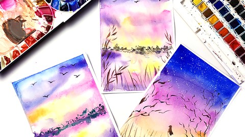 [Udemy Coupon] Watercolor for Beginners – Painting Sunsets