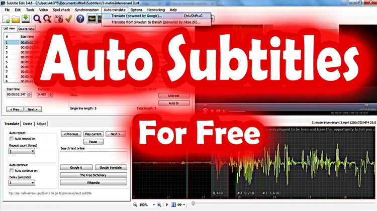 Automatic Subtitles (SRT) transcribe and translation
