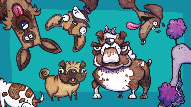 Cartooning For Beginners How To Draw Cartoon Dogs Udemy