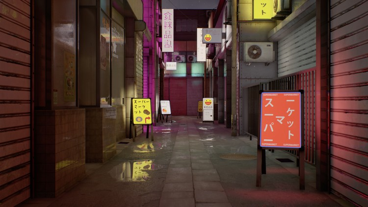Japanese Alley 3D Game Environment Creation | Udemy