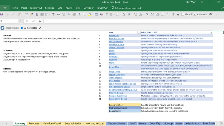 Microsoft Excel-The Ultimate Workbook How-to Resource Course