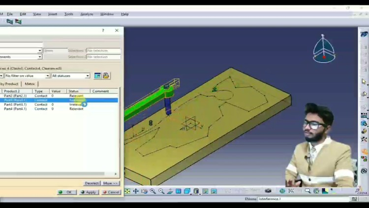 CATIA V5 DMU Kinematics and Analysis of Mechanism with Clash