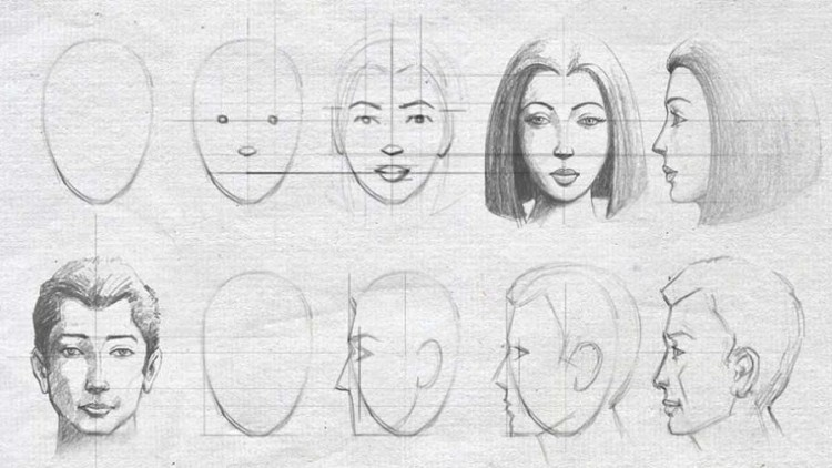 Drawing & shading beautiful Male and Female face -easy steps | Udemy