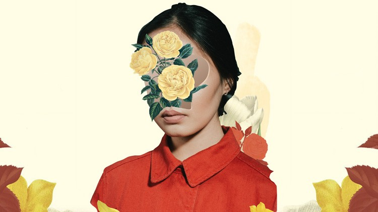 Digital collage Floral Portrait made easy