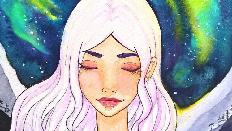 Easy watercolor painting- night sky galaxy manga portrait