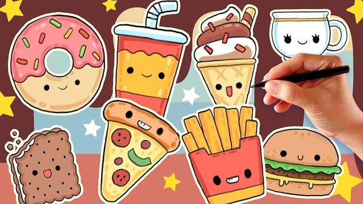 How To Draw Cute Kawaii Cartoon Food And Drink Udemy
