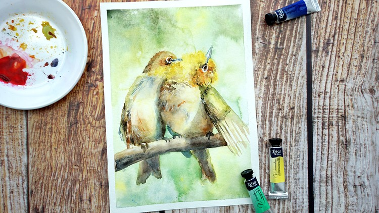 Paint Birds in Watercolor: step by step tutorial