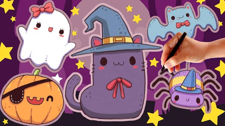 Cute and Kawaii Halloween Illustration Drawing