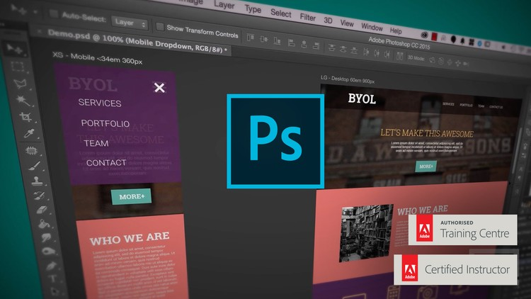Adobe Photoshop CC – Web Design, Responsive Design & UI