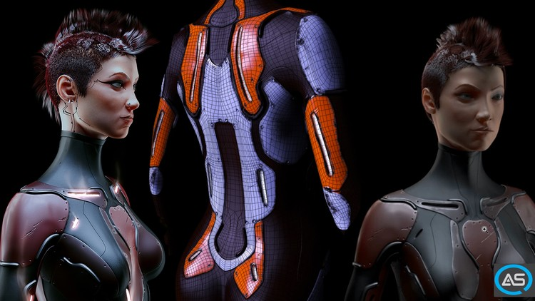 Female Cyborg 3d Workflow Art in Cinema 4d, and Photoshop