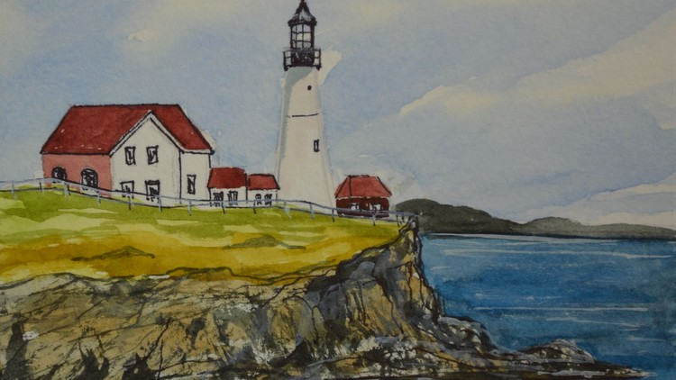 Beginner Watercolor Painting Course Easy Lighthouse Painting